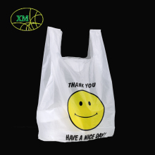 Custom logo plastic carrier bags supplier biodegradable t-shirt plastic bag shopping