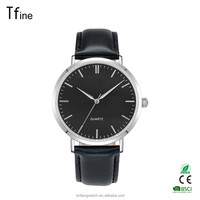 Ultra Thin Dial Luxury Men's Watches Analog Display Quartz leather Band Wrist watch(Black)