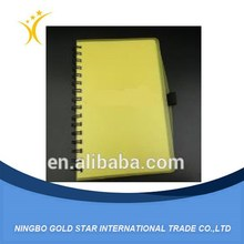 2015 Hot sale Clear Yellow Plastic Cover Spiral Notebook