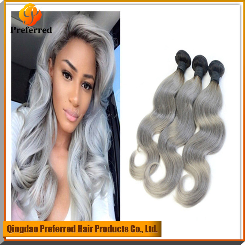 <strong>Black</strong>/grey ombre two tone color body wave Brazilian human hair sew in weave