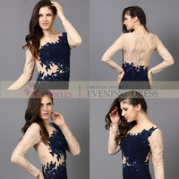 Beige Lace Dark Blue Bead Long Sleeve Chiffon Fashion Wedding Cocktail Party Evening Dresses