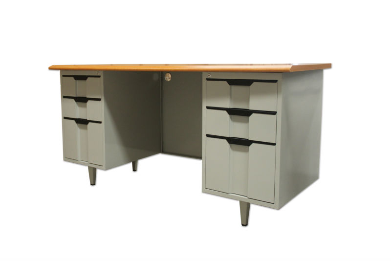 2013 hot sale office desk with steel drawer cabinet lockable and height adjustable