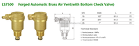 "Forged Brass Automatic Air Vent Valve(with Bottom Check Valve)--3/4"" Model"