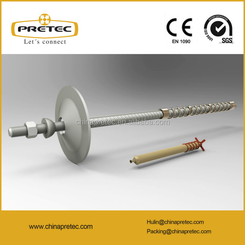 China pretec HRB400 HRB500 Double corrosion protection resin rock bolt for tunnelling mining support