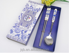 Chinese Style Ceramic handle cutlery set blue follower