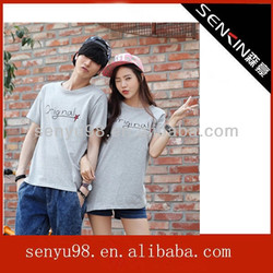 2014 high quality couple t shirt with pattern in china