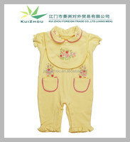 100% cotton Cute Embroidery Short sleeve baby wear set