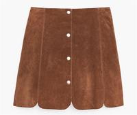 2017 faux suede camel petal skirt