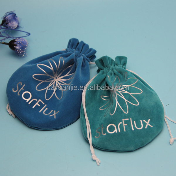 custom printed drawstring jewelry pouch velvet fabric