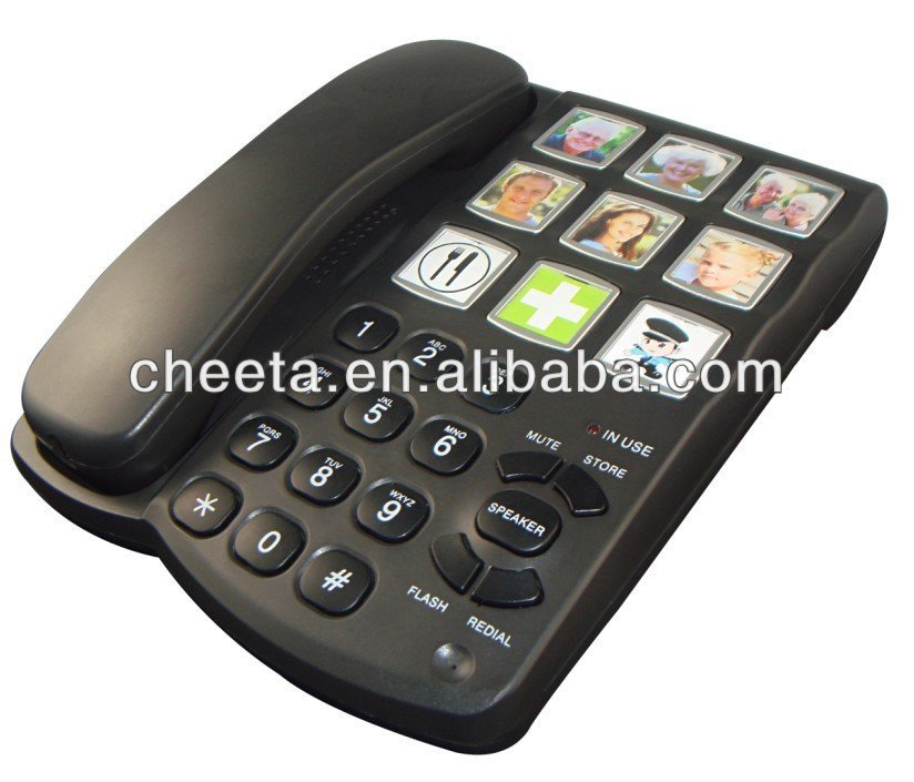 Big button phone with memory speed dial function and pictures for senior or kids