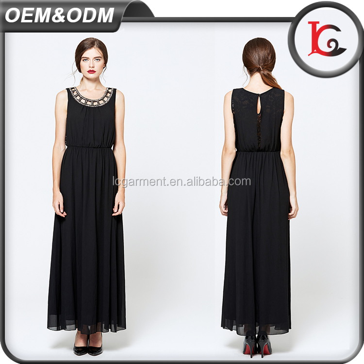 latest design OEM ODM summer new style woman chiffon maxi dress round collar hollow out lace sexy dress for ladies