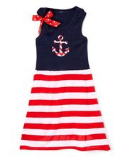 2017 Children Patriotic Clothing Striped Anchor Appliqued Girls Long Dress 4th of July Kids Girl Boutique Outfits