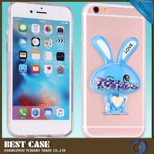 Fancy & cute mobile phone case soft 3d liquid rabbit case for samsung galaxy s6