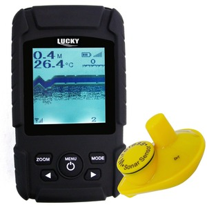 LUCKY Rechargeable Battery Waterproof Wireless Fishfinder/ Fish finder 2-131FT Sensor 125kHz Sonar Frequency Bottom Contour