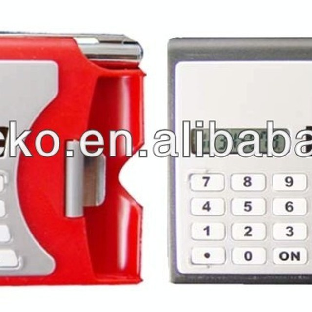 Plastic card holder calculator with pen