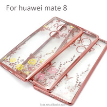 Fashion Butterfly Flower Soft Electroplating Tpu Case For Huawei Mate 8 Mobile Cover