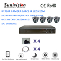 HOT Security system POE NVR IR leds 20m IP 720P dome cctv ip camera kit
