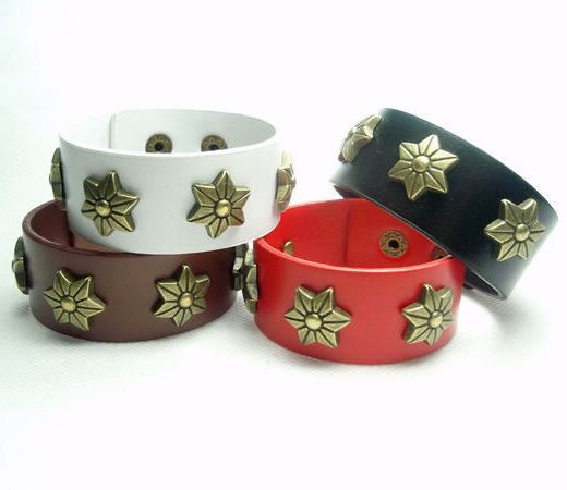 Min.order is $15(mix order),new women retro type flower leather bracelets,men's bangles,fashion jewelry,27-3 Free shipping