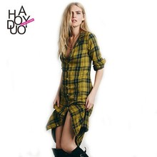 2015 Fashion Red and Yellow Checks Long Blouse Casual Styles Shirt with Pockets for wholesale Haoduoyi