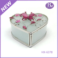 HX-6378 Wholesale Best Quality Decorative Pewter Heart Shaped Metal Jewelery Box