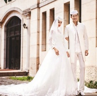 Hot Dubai Long Sleeve Arabic Style Wedding Dress Online