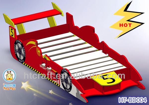 HT-BD004 2013 MOST popular cool wooden children car bed in speedy racing car shape for sale