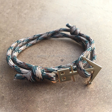 Custom Jewelry Trashness Zinc Alloy Charm Paracord Rope Gold Plated Nautical Anchor Bracelet