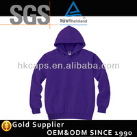 High quality purple custom fleeces hoodie without hood
