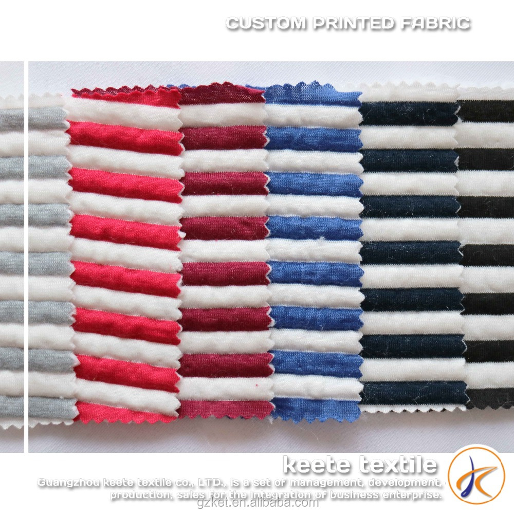 (P151) Mixed white and colorful stripes knitted fabrics