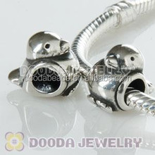 925 Sterling Silver Animal Style Happy Bird Shaped Beads