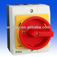 4P20A Weatherproof Isolator Switches Water proof Rotary switch IP65 New Lockable switches with plastic box