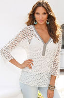 Wholesale clothing hot sale rhinestone trim crochet tunic women blouse