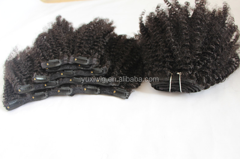 African American Clip in Human Hair Extensions Natural Indian Virgin Hair 6pcs/set Full Head Afro Kinky Curly Clip Ins