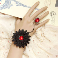 MYLOVE Black Flower Bangle Charm Bracelet