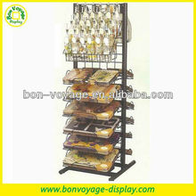 Double sided ktchenware standing metal hanging basket display rack