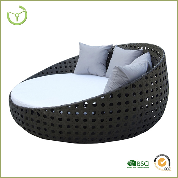 High back rattan chair outdoor round wicker daybed with cushions