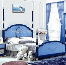 Peaceful Country Style Children/kids bedroom furniture,Twin Or Full Four Poster Bed, Solid Wood Platform Bed In Blue