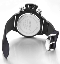 Sport 6 hands big case watch for men cheap black and white silicone watch