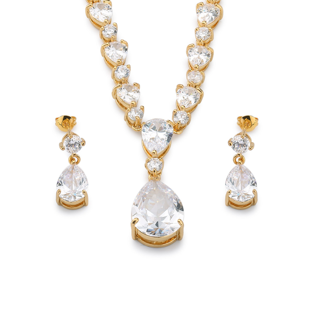 Sparkling diamond zircon earing necklace Bridal jewelry set, 18k gold plated fashion jewelry sets for women wedding party