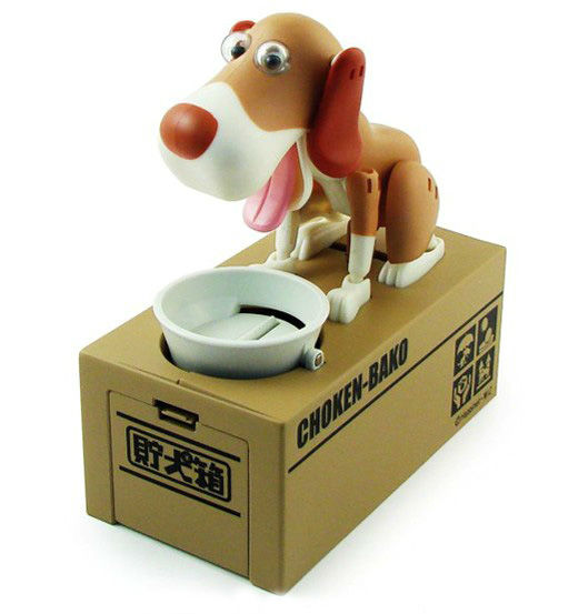 Vinyl cute doggy coin saving bank/Promotional dogs shaped coin saving bank