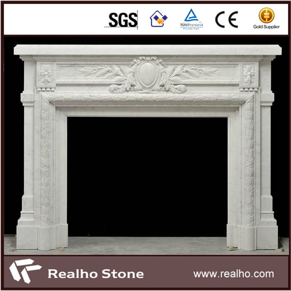 French Antique Style White Marble Fireplace Mantel