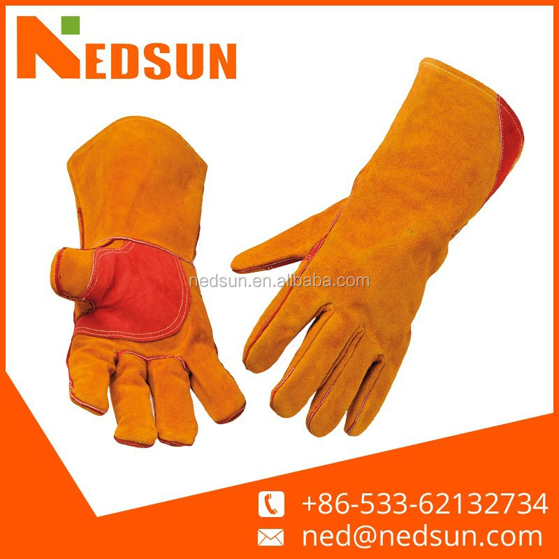 Heat resistant cow split leather kevlar welding gloves