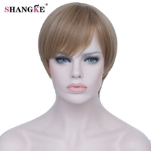 Hair For White Women Heat Resistant Synthetic Hair Short Linen white gold Partial bangs Wig Synthetic Wigs