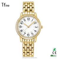 Fashion Crystal Decorated Analog Jewelry Lady Watch with steel Strap OEM/ODM Available