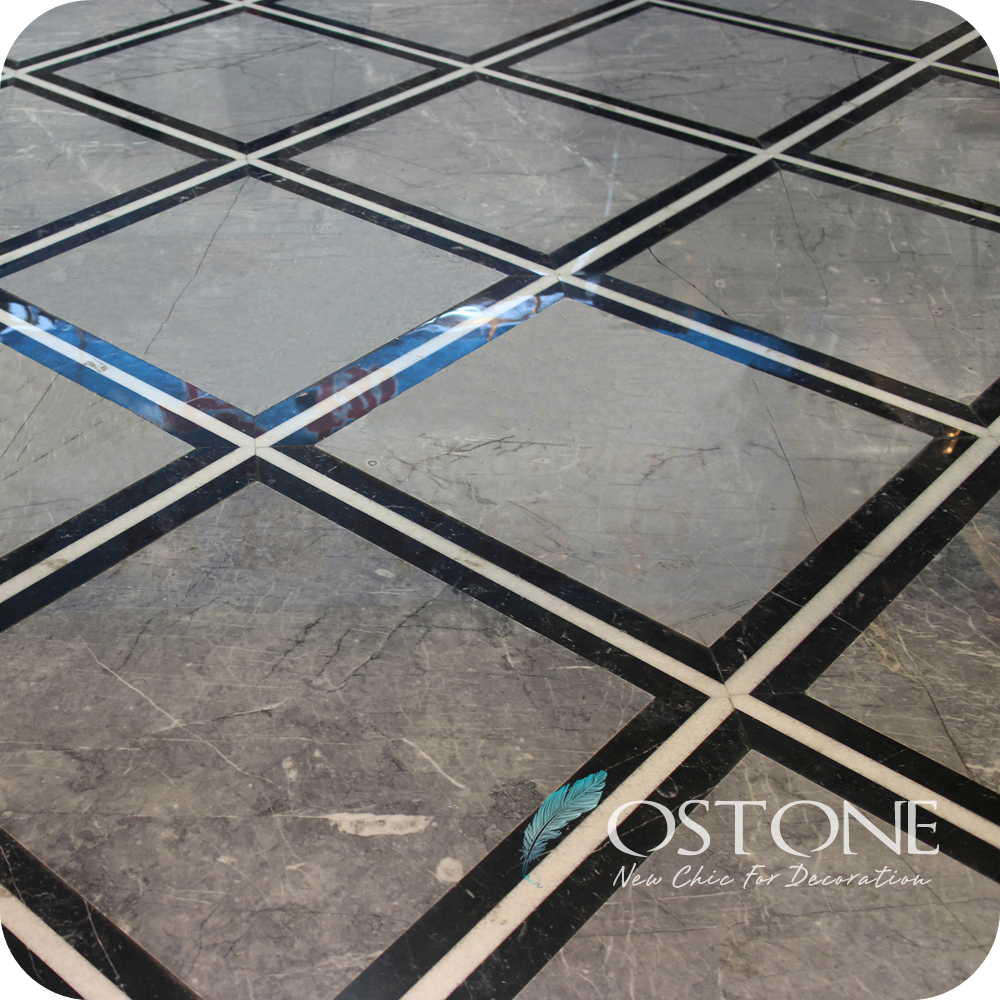 Interior Architectural Decoration Polished Turkey Grey Marble Floor Tiles