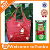 Red bags santa claus printed reusable reindeer key chain folding shopping bag