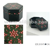 Handmade lacquered box, 'Ruby Gardens'