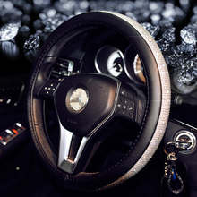 Luxury Car Steering Wheel Cover for Women Girls Leather Crystal Rhinestone covered Steering Wheel Covers Interior Accessories