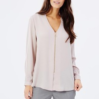 Spring High Fashion Womens Garments Lady Top Zip Front Long Sleeve Woman's Blouse JDL110
