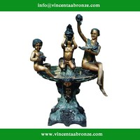 2015 hot sale bronze naked lady with children fountain